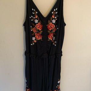 black embroidered floral romper